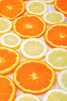 orange Citrus sinensis, orange disks and lemon disks