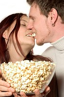 young couple with Popcorn