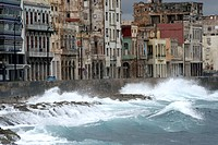 Storm over Malecon in Havanna, Cuba, La Habana