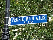 Street sign with the title ´People with Aids Plaza´, USA, Manhattan, New York