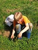 boy collecting herbs in a ditch