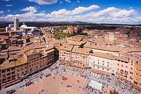 Siena panoramic panorama of the Duomo Cathedral Campanile Belltower and city from Torre del Mangia Tuscany Italy Italia Europe EU