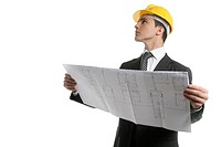 Architect executive business people with plans with hard hat