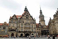 theatre square and castle Residenzschloss, Germany, Dresden