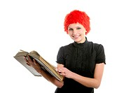 Beautiful woman, orange wig reading old book, isolated on white