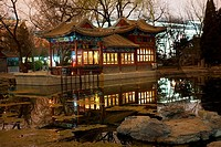 Stone Boat Temple of Sun, Beijing China, Pond, Reflection, Evening, Night Shot
