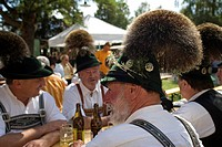 a group of men in traditional clothing at the Gamsbarttag in Goisern, Austria, Oberoesterreich