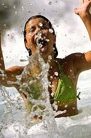 girl having fun in a swimming pool