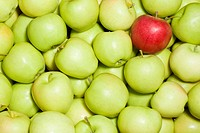 A red apple in a bunch of green apples