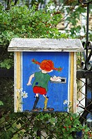 Pippi Longstocking drop a letter _ painting on mailbox, Sweden, Smaland, Vimmerby