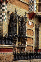 Barcelona: Detail of the facade of Vicens House Gaudí, 1878-1880