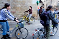 Barcelona:People riding Bike in Santa Clara street
