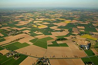 Aerial picture, fields near Kalkar, North Rhine-Westphalia, Germany, Europe