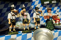 Bavarian folklore figurines in a shop window, Ruhpolding, Chiemgau, Bavaria, Germany, Europe