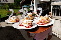 Cream puffs served at Windbeutelgraefin Cafe, Ruhpolding, Chiemgau, Bavaria, Germany, Europe