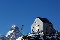 Mountain hut, Rifugio Theodulo, Mount Matterhorn, Zermatt, Wallis, Switzerland, Europe