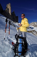 Snowshoeing in front of the mountain Drie Zinnen or Tre Cime di Lavaredo, Italian for Three Peaks of Lavaredo, Hochpustertal Valley or High Puster Val...