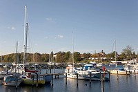 Sailboat marina and castle in Augustenborg, Alsen, Denmark