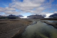 The Skaftafell and Svinafell glaciers descending from the Vatnajokull icecap, south_east Iceland, Iceland, Skaftafell National Park