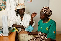 Female doctor examining a woman, prenatal testing, Garoua, Cameroon, Africa