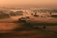 ground mist at sunrise, Germany, Bavaria, Isental