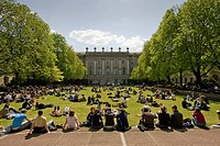 Students on campus of Humboldt University, Berlin, Germany, Europe