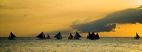 sailboats on the sea, evening mood, Philippines