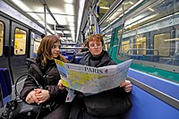 tourists in metro, France, Paris