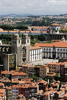 Porto  Portugal  The Sé Cathedral, Paço Episcopal, the medieval archbishop´s palace Centre right & the Mosteiro da Serra do Pilar Top Centre