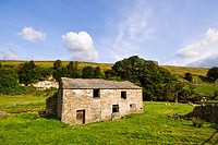 Stone building and dykes in the Yorkshire Dales, England, UK