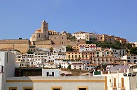 Ibiza from balearic islands in Spain  Mediterranean touristic vacation town