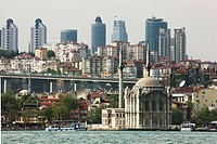 Mecidiye Mosque, Ortakoy district at the Bosporus, Skyline of the modern Istanbul in the back, Turkey