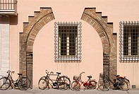 Ravenna, Italy  Centuries old decorative brick arch is revealed through a stuccoed wall