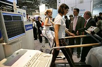 GE (General Electric) Healthcare's stand at Medica 2007, world's biggest trade show for medical equipment and technologies, Duesseldorf, North Rhine-W...