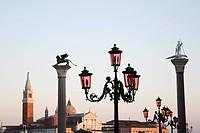 Italy, Venice, San Giorgio Maggiore, Lanterns in foreground
