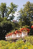 Austria, Salzburg, Mirabell Gardens, Flowers and amphoras