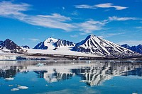 mountains mirroring in Lilliehooksfjorden, Norway, Svalbard Inseln