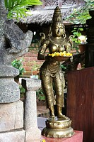 Statue holding flowers, Somatheeram Ayurveda Resort, traditional Ayurvedic medicine spa resort, Trivandrum, Kerala, India, Asia