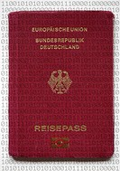 Symbolic photo: new German passport featuring advanced security features, digitalized data and fingerprints, Germany, Europe