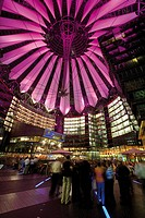 Germany, Berlin, Potsdamer Platz, Sony Center at night
