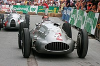 Jochen Mass driving an historic Mercedes Silberpfeil W 154 at Ennstal Classic vintage car rally, Austria, Europe