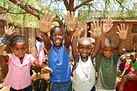 Children showing their sandy hands at a kindergarten, Gaborone, Botswana, Africa
