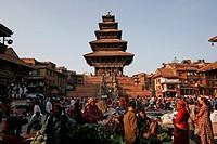 Market at Taumadhi Square, Bhaktapur, Nepal
