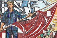 Socialistic wall mosaic made by Walter Womacka _ Haus des Lehrers in Berlin, Germany, Europe