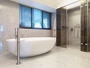 Marble walls in modern bathroom