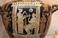England, London, British Museum, Painted Water Jar of Woman and Maid from Apulia in South East Italy 350BC