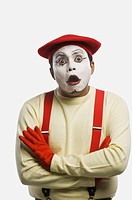 Close_up of a mime looking shocked