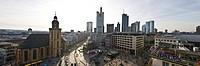 Panoramic view of Frankfurt's skyline, Hauptwache, Alianz and Commerzbank towers and St. Katherine's Church, Frankfurt, Hesse, Germany, Europe