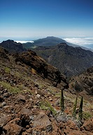View a path on top of the Roque de la Muchachos, The Caldera de Taburiente, La Palma, Canary Islands