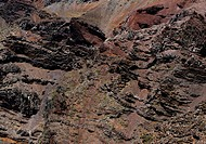 Rock detail of the side of the Roque de la Muchachos, The Caldera de Taburiente, La Palma, Canary Islands